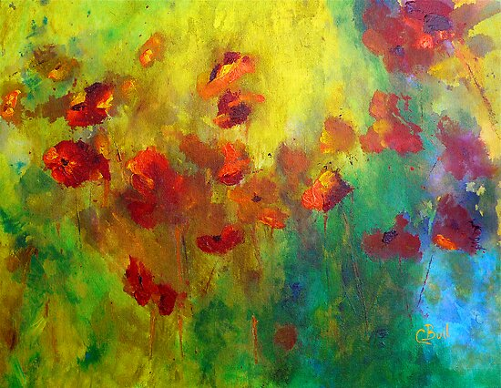 Red and Orange Poppies by Claire Bull