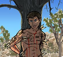 St Sebastian as portrayed by Tom Hardy by delilahdesanges