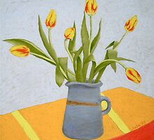 Yellow Tulips with Red Stripe by Jude Allman