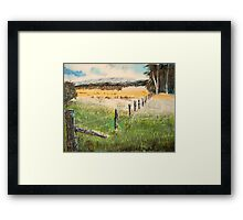 fence and fields Framed Print