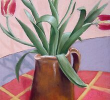 Red Tulips in Jug by Jude Allman