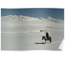 Rider on snow covered mountain plain, Tien-Shan, Kyrgyzstan Poster