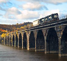 Freight train on the Rockville Bridge by ©  Paul W. Faust