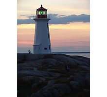 Lighthouse and Afterglow Photographic Print