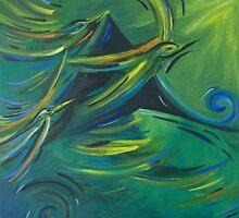 Flight of the green birds by Kari   Hall