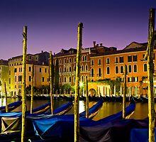 Gondolas on Venice canal after dark  by Gaze