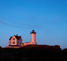 Evening Glow - Nubble Light by Stephen Beattie