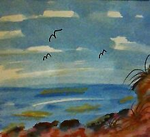 Lets sit on the rocks and enjoy the ocean, watercolor by Anna  Lewis