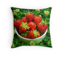 Strawberries and Clover Throw Pillow