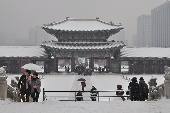 Gambukgong (palace) Gate Frozen in a Blizzard by Christian Eccleston