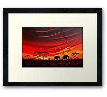 Two Elephants on the Horizon Framed Print