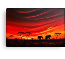 Two Elephants on the Horizon Canvas Print
