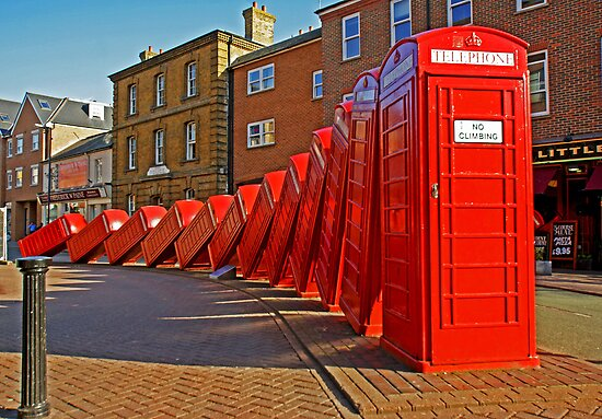 London Red Phone Boxes Art - Kingston Upon Thames by DavidGutierrez