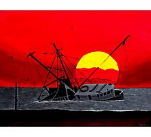 """""""After the Hurricane"""" - Nautical seascape shipwreck acrylic painting Photographic Print"""