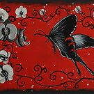 Black Butterfly with Orchids by Jennifer Gibson