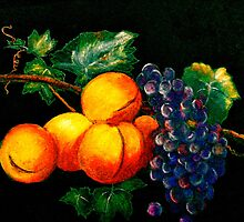 Still Life with Peaches and Grapes.. by ©Janis Zroback