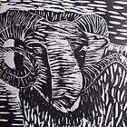 Welsh Ram....woodcut by Caroline Maddison