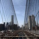Brooklyn bridge dividing the New York scene by contradirony