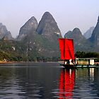 RED Sail Fine Art , Li River China by fotinos