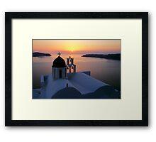 Golden Santorini Framed Print