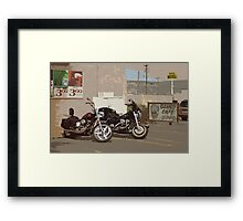 Route 66 Motorcycles with a Dry Brush Effect Framed Print