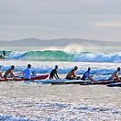 Skis and a surf boat at Lorne by Andy Berry