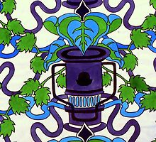 Oil Lamp & rubber Plant Still life - repeat pattern by Victoria limerick