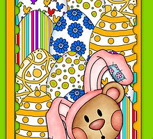 Easter Card With Bear In Easter Bunny Costume by Moonlake