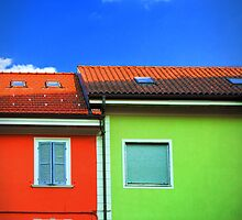 Colored walls and a cloud by Silvia Ganora