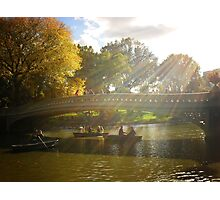 Sunlight and Boats - Bow Bridge Central Park Photographic Print
