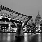 Millennium Bridge & St Paul's Cathedral, London - Mono by strangelight