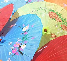 Colourful Parasols China by Sandra Baxter