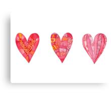 Hearts ,watercolor Canvas Print