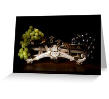 A pair of scales with grapes still life Greeting Card