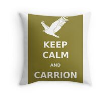 keep calm and carrion vulture Throw Pillow