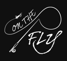 On The Fly rod - dark tee by Sarah Caudle
