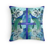 Peacock Design -Stainglass.. Throw Pillow