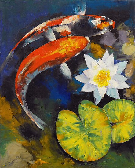 Koi fish and water lily by michael creese redbubble for Koi japanese art