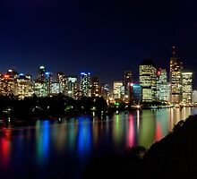 Brissie...by night - Brisbane city Qld by Beth  Wode