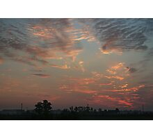 Sky fire in village early morning Photographic Print