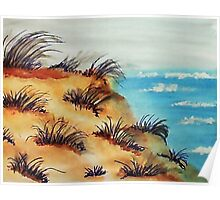 Looking Out Over the Bluff on Sand Dunes, watercolor Poster