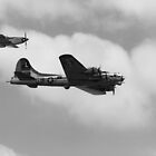 War Birds Black And White - B17 and P51 Mustang by Boots86