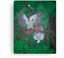 Playful Greys - African Grey Parrots Canvas Print
