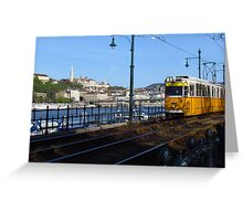 Yellow Tram and the Danube, Budapest Greeting Card
