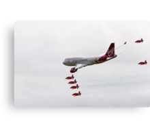 Virgin 747 escorted by the red arrows Canvas Print