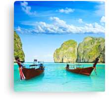 Longtail boats at Maya bay Canvas Print