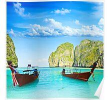 Longtail boats at Maya bay Poster
