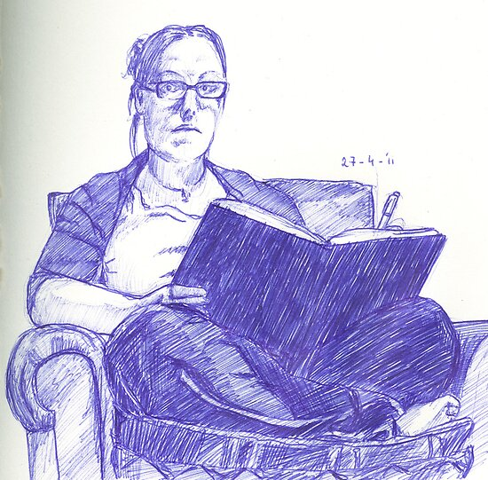 Selfportrait: drawing by Sanne Thijs