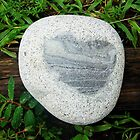 Granite Heart Rock in Wet Green Grass by Christi Doolittle