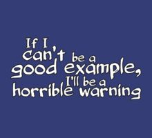 If I can't be a good example I'll be a horrible warning by digerati